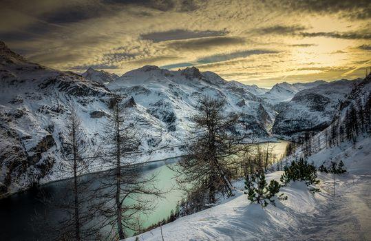 Alps, sunrise, lake, France, the mountains, trees, winter, landscape