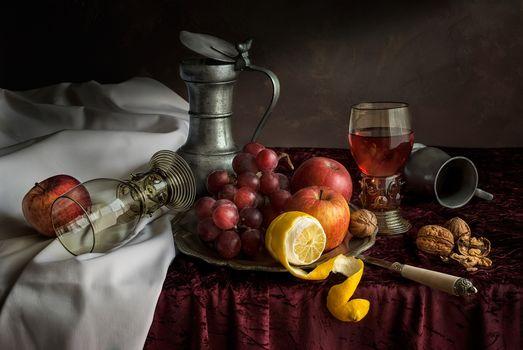 table, fruit, grapes, lemons, still life, food