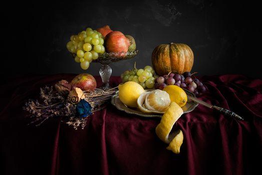 table, fruit, Garnet, grapes, lemons, still life, food