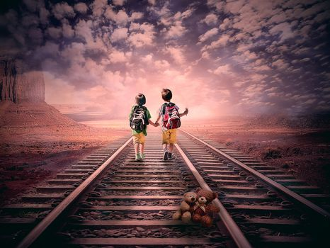 sunset, Railway, children, toy bear, art