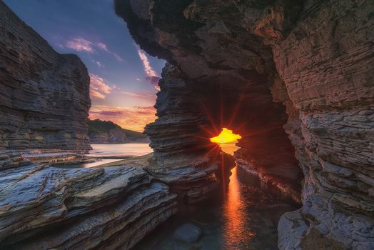sunset, sea, rock, arch, landscape