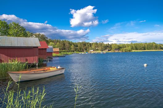 lake, houses, a boat, Sweden, trees, landscape