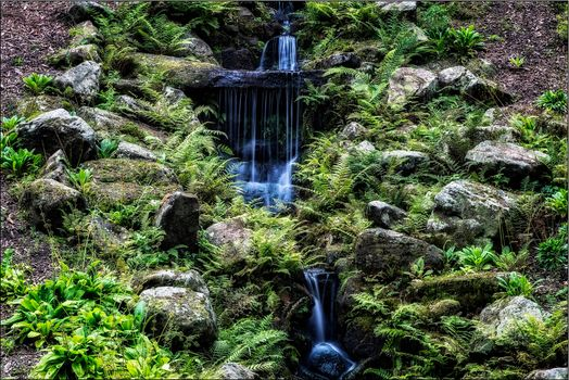 Hill, forest, stones, waterfall, nature