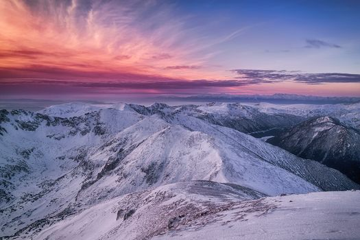 Musala, the highest peak on the Balkan Peninsula, Rila-Mountain, Bulgaria, the mountains, sunset, landscape