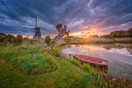 Netherlands, sunset, lake, a boat, mill, landscape