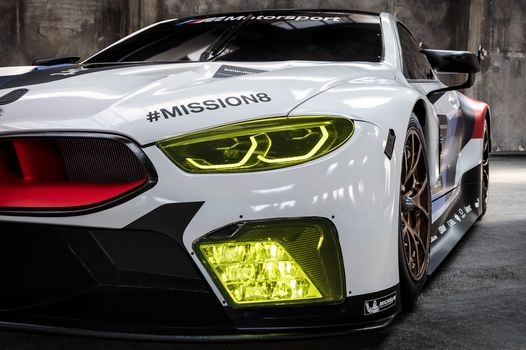 BMW, BMW M8 GTE, 2018, BMW, racing car, bumper, lighting technology