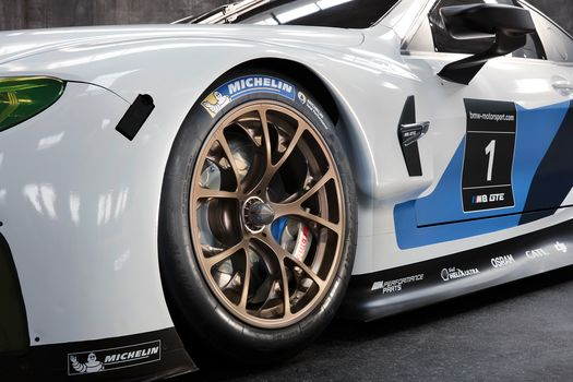 BMW, BMW M8 GTE, 2018, BMW, racing car, a weather-cloth, wheel, disk, bumper, inscriptions
