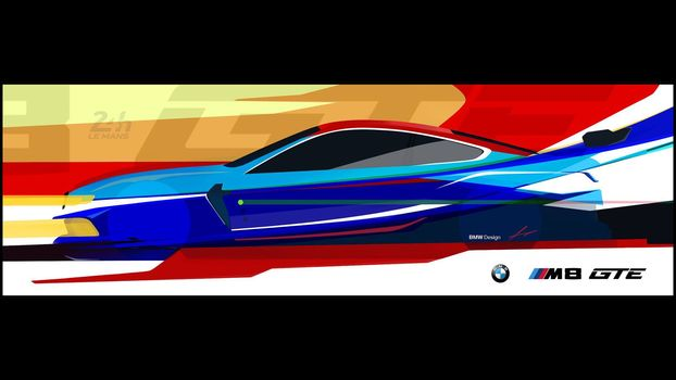 BMW, BMW M8 GTE, 2018, BMW, racing car, sketch, drawing, profile, design