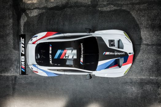 BMW, BMW M8 GTE, 2018, BMW, racing car, view from above, roof, shadow