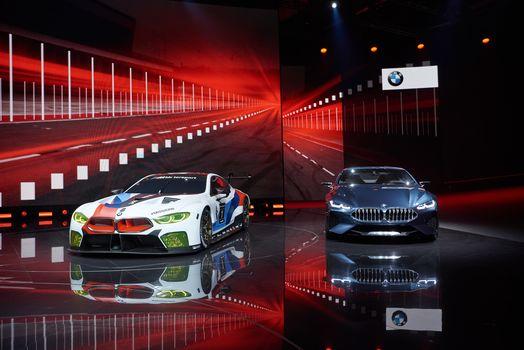 BMW, BMW M8 GTE, BMW 8-Series Concept, BMW, two, scene, reflection