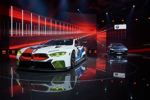 BMW, BMW M8 GTE, BMW 8-Series Concept, BMW, two, scene, shine, presentation, reflection, decorations