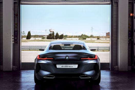 BMW, BMW 8-Series Concept, 2017, BMW, concept car, back view, garage, branch pipes, track, bumper, landscape, compartment, silhouette