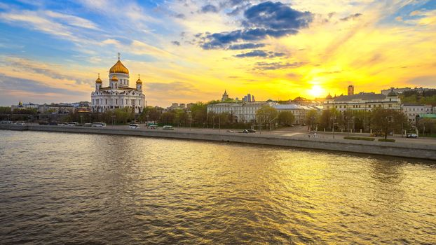 Moscow, Russia. Moscow, Russia, Cathedral of Christ the Savior, sunset