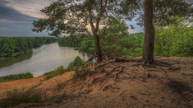 Moscow region, Russia, Moscow region, sunset, River, forest, trees, slope, landscape