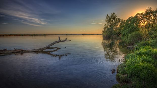 Moscow region, Russia, Moscow region, sunset, lake, trees, landscape