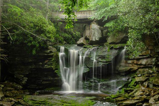 waterfall, rock, bridge, trees, landscape
