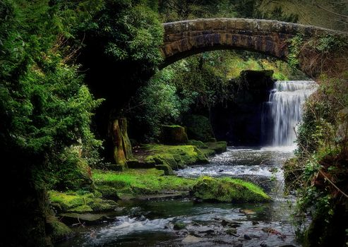 waterfall, rock, stones, water, bridge, arch, nature