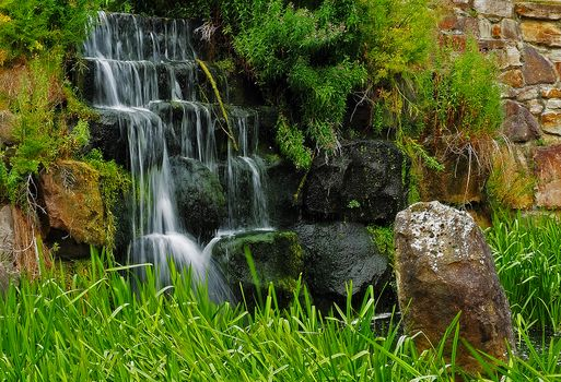 waterfall, wall, stones, grass, landscape
