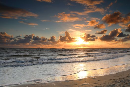 sunset, sea, waves, Coast, landscape, beach