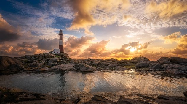 Norway, Dalane, Rogaland, sea, rock, lighthouse, sunset, landscape