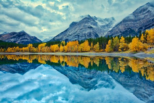 Kananaskis Country, Alberta, Canada, autumn, lake, the mountains, trees, landscape