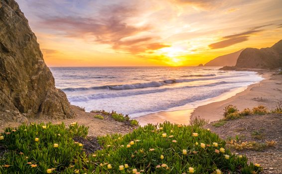 sunset, sea, Coast, beach, Malibu, USA, landscape