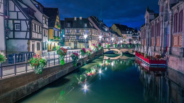 Colmar, France, night, lights, illyuminatsiya
