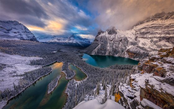 Lake O'Hara, Canada, Yoho National Park, the mountains, trees, landscape
