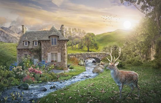 sunset, house, small river, deer, trees, bridge, art