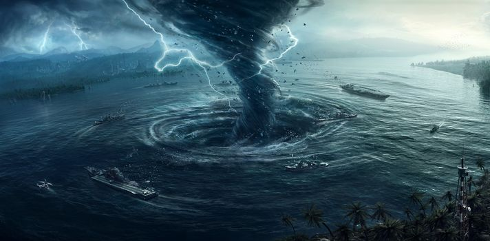 sea, city, storm, tornado, lightning, ships, Fiction, fantasy, art