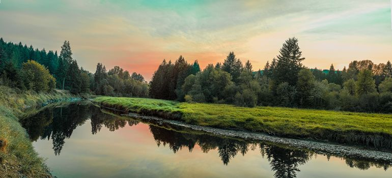sunset, River, forest, trees, landscape, view