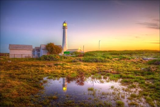 Slangkop Lighthouse, Kommetjie, Lighthouse Slangop, Cap-Peninsula, South Africa, sunset, landscape