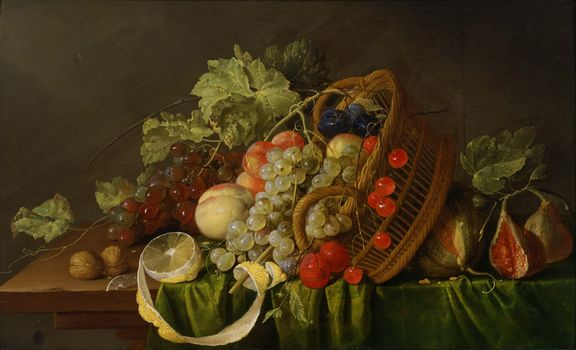 nature morte, panier, fruit