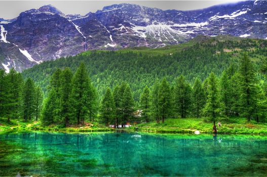 lake, the mountains, forest, trees, lodge, landscape
