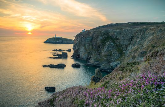 Anglsi, Anglesey, United Kingdom, sunset, sea, lighthouse, rock, landscape