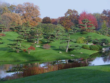 Japanese garden, park, trees, hills, water, landscape