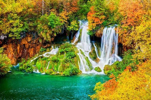 осень, лес, деревья, водоём, водопад, пейзаж