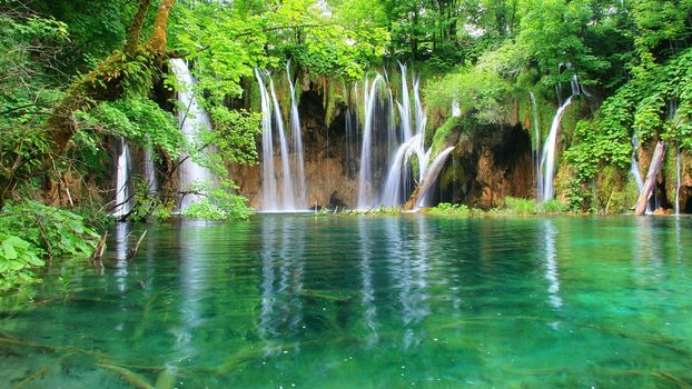 Plitvice, Croatia, waterfall, trees, landscape