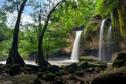 waterfall, Thailand, stones, trees, landscape