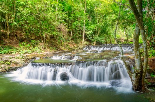 waterfall, Thailand, rock, trees, landscape