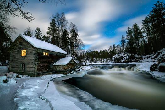 Lapland, winter, River, lodge, trees, landscape