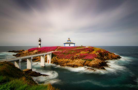 Pancha Island, Ribadeo, Spain, Atlantic Ocean, Island, lighthouse, landscape