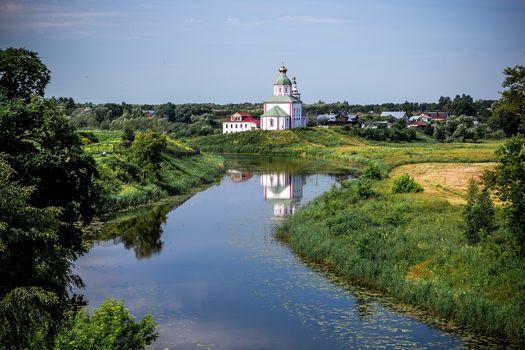 Suzdal, Russia, Vladimir region, Kamenka River, landscape