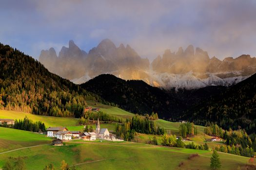 Santa Maddalena, dolomitы, Santa Maddalena, church, Italy, the mountains, hills, trees, landscape