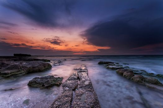 sunset, sea, Coast, rock, landscape