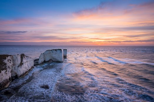 England, Dorset County, Perbek Island, sea, rock, sunset, landscape