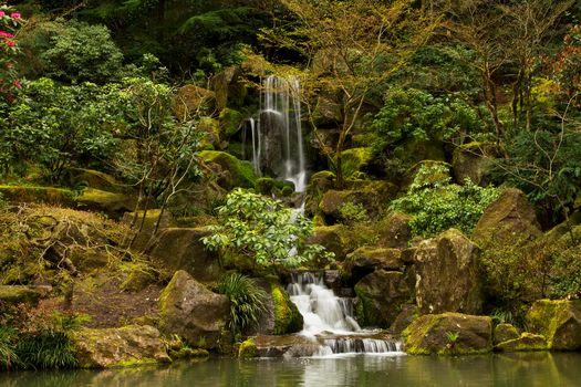 Portland Japanese Garden Waterfall, waterfall, park, garden, stones, trees, landscape