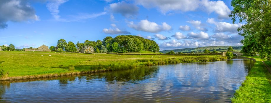 Yorkshire, England, River, channel, bridge, fields, at home, trees, landscape, view