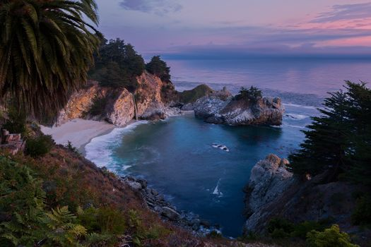 McWay Falls, Big Sur, California, Julia Pfeiffer Burns State Park, McWay Cove Beach, Big Sur, California, Julia Pfeiffer Bern Park, sunset, waterfall, sea, Coast, beach, landscape