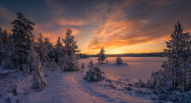 красивый закат - Норвегия
